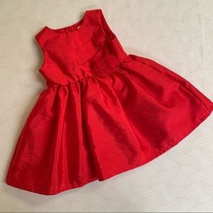 Baby girl red holiday Christmas dress rosette